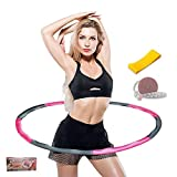 Hultz Weighted Hula Fitness Hoops for Adults Weight Loss plus size, Fitness Hoop for Exercise 2.5 lb- 8 Section Detachable Hoola Hoops with Free A tape measure and A band of resistance