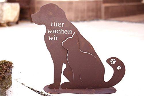 Hund mit Katze Hier wachen wir Edelrost - 21cm/ Bodenplatte: Wunderschöne Figur zu verwenden als Dekoartikel am Hauseingang auf Ihrer Terrasse oder in der Wohnung - Dekoidee von Manufakt-Design