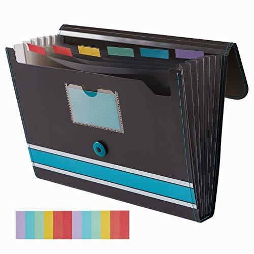 Sooez Expanding File Folder Paper Organizer with Sticky Labels, 7 Pockets File Organizer Accordion File Organizer, Letter/A4 Paper/Document Folder Organizer, File Folder Organizer File Holder, Blue