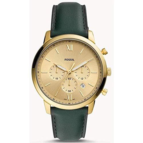 Fossil heren analoog kwarts horloge met echt lederen armband FS5580