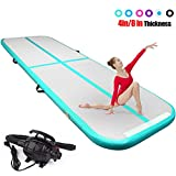 FBSPORT 4 inches Thickness airtrack mat,10ft Tumble Track air mat for Gymnastics Training/Home Use/Cheerleading/Yoga/Water with Electric Pump