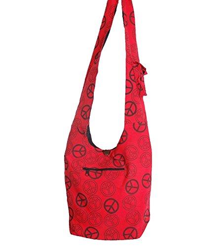 KUNST UND MAGIE Ethno Hippie Tasche Baba Peace Zeichen Umhängetasche Goa, Farbe:Rot