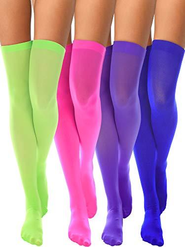 4 Paar Nylon-Damensocken aus Seide für Damen Cosplay Kostümzubehör pink / grün / lila / blau one size