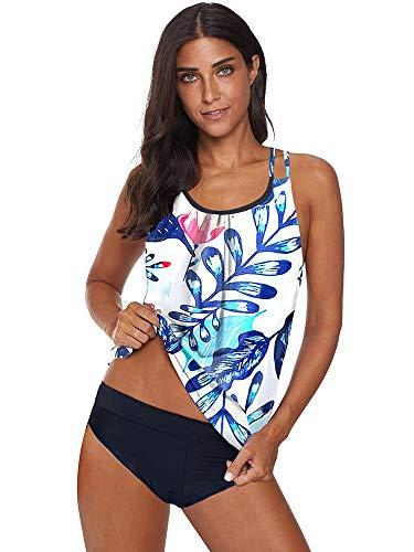 GF-Ms. Clothing Accessories Damen bedruckter Tankini Zweiteiliger Bikini Badeanzug sexy Rücken Kreuzgurte Set (Color : White, Size : XXL)
