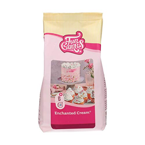 FunCakes Mix for Enchanted Cream Easy to Use, Very Light and Fluffy Snow White Cream, Perfect for Filling and Covering Cakes or as a Topping on Cupcakes, Halal, 450 g.