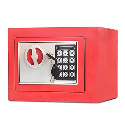 FDYZS Pequeño Valor Seguro Contraseña de Acero Inicio Mini Safe Coin Caja de 8 litros Capacidad para el hogar, Oficina, Banco, Supermercado,Rojo