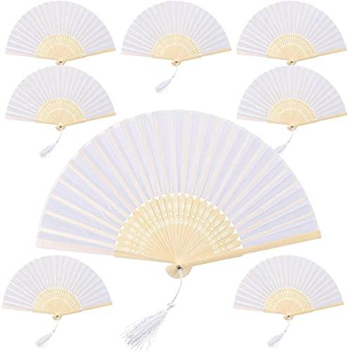 8 unids Tela Blanca Fans de Seda Bambú Seda Fan Plegable Mano Atracenos Plegables para Fiesta de Boda Decoraciones Dancing Props Banco Favores de Regalo (Blanco)