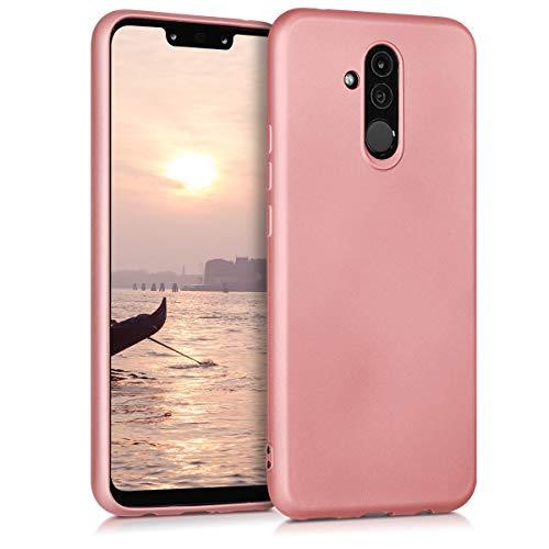 kwmobile Carcasa Compatible con Huawei Mate 20 Lite - Funda de Silicona para móvil - Cover Trasero en Oro Rosa Metalizado