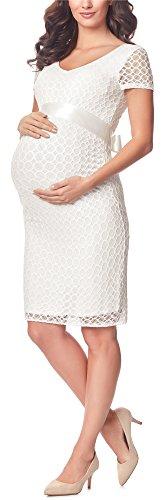 Be Mammy Damen Umstandskleid festlich aus Spitze Kurze Ärmel Maternity Schwangerschaftskleid BE20-162 (Ecru2, L)