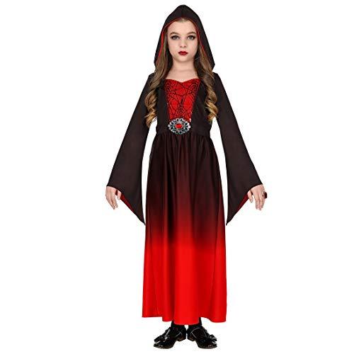 Gothic-Kleid mit Kapuze für Kinder | Rot-Schwarz in Größe 158, 11 - 13 Jahre | Hinreißende Mädchen-Verkleidung Mittelalter Kostüm Burgfräulein | Wie geschaffen für Kinder-Fasching & Gothic Abend