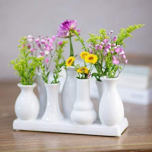 Keramische vaas bloemenvaas keramische vazen kleurrijk/wit vaas bloemen planten keramiek set decoratie (7 vazen, wit)