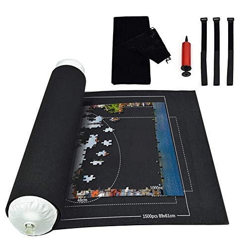 Fieltro Puzzles, Puzzle Roll, Puzzles Blanket, Tapete Puzzle, Jigsaw Roll Mat, Tapete Puzzle Mat (Negro)