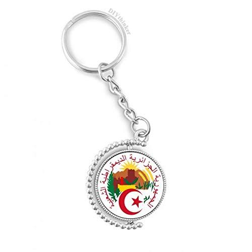 DIYthinker Algier Algerien National Emblem Drehbare Schlüsselanhänger Ringe 1.2 Zoll x 3.5 Zoll Mehrfarbig