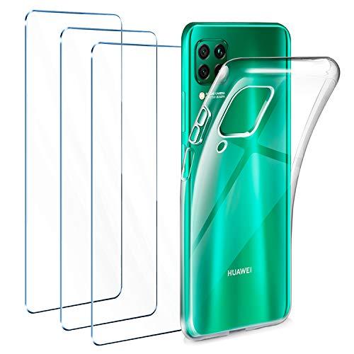 Leathlux Funda Huawei P40 Lite + 3 x Protector de Pantalla Huawei P40 Lite, Transparente TPU Silicona Funda + Cristal Vidrio Templado Protector de Pantalla y Carcasa Huawei P40 Lite