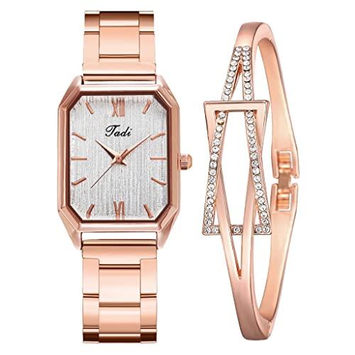 Reloj de Moda para Mujer, Reloj de Pulsera de Diamantes de imitación de Oro Rosa de Lujo, Reloj de Pulsera de Cuarzo para Mujer, Conjunto de Pulsera de Regalo, Reloj Femenino