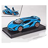 Diecast Model Car 1:32 Diecast Aleación de Deportes de Deportes Modelo para Lambor para Sian Metal T-Oy Wheels Pull Back Coche Sound Light Collection Niño Regalo (Color: Red Send Box) wmpa