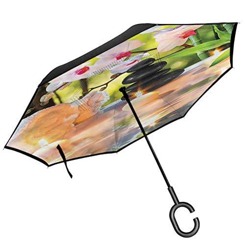 ScottDecor Spa Printed Umbrella Spa with Candles Orchids Reverse Umbrella Inverted Windproof Rain Car Umbrellas