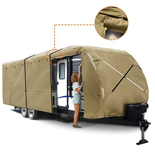 Leader Accessories Travel Trailer RV Cover Fits Camper 3 Layer Polypropylene Outdoor Protect (Fits 20'-22', Beige)