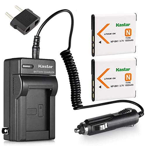 Kastar Battery (2-Pack) and Charger Kit for NP-BN1, BC-CSN work with Sony Cyber-shot DSC-QX10,DSC-QX100,DSC-T99,DSC-T110,DSC-TF1,DSC-TX5,TX7,TX9,DSC-TX10,DSC-TX20,DSC-TX30,DSC-TX55,DSC-TX66,DSC-TX100V,DSC-TX200V,DSC-W310,DSC-W320,DSC-W330,DSC-W350,DSC-W360,DSC-W380,DSC-W390,DSC-W510,DSC-W515PS,DSC-W520,DSC-W530,DSC-W550,DSC-W560,DSC-W570,DSC-W580,DSC-W610,DSC-W620,DSC-W650,DSC-W690,DSC-W710,DSC-W730,DSC-W810,DSC-W830,DSC-WX5,DSC-WX7,DSC-WX9,DSC-WX30,DSC-WX50,DSC-WX70,DSC-WX80,DSC-WX150,DSC-WX220
