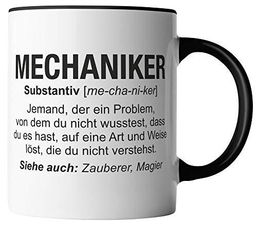 vanVerden Tasse - Mechaniker Wikipedia - Job Motto Beruf - beidseitig Bedruckt - Geschenk Idee Kaffeetassen mit Spruch, Tassenfarbe:Weiß/Schwarz