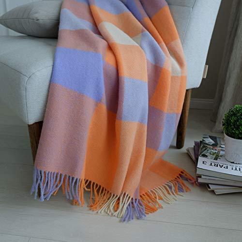 Linen & Cotton Decke Wolldecke Kariert Wohndecke Kuscheldecke Devon - 100{5ee641492cb6296084f73e2e9071ebc906789ca899c3010cfaa373e2fccc3ff2} Reine Neuseeland Wolle, Orange Blau Lila Weiß Natur (140 x 200 cm) Sofadecke Couchdecke Winter Blanket Sofa Couch Schurwolle