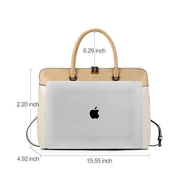 CLUCI Briefcase for Women Oil Wax Leather 15.6 Inch Laptop Business Vintage Slim Ladies Shoulder Bag 3