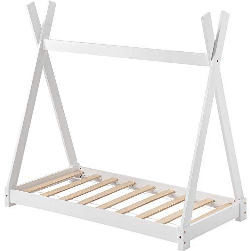 ModernLuxe Kinderbett Hausbett Babybett 70x140cm Kiefernholz Bett Indisches Bett Kinderhaus Massivholz Zelt Holz mit Lattenrost für Kinder- und Jugendzimmer,Weiß