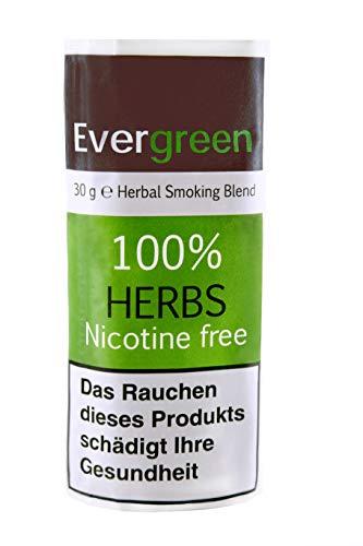 Bio Kräuter Natur Räuchermischung 30g 100% frei von Nikotin und Tabak, reichhaltig, aromatisch, feines Aroma und angenehmer, weicher Geschmack, Evergreen Tabakersatz