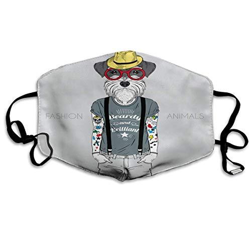 Staubfeste Wärmemasken, geeignet zum Laufen und Radfahren, Mehrzweckmasken - Tier des Hunde-Hipster-Tattoos, gekleidet in Sprüche Schnauzer