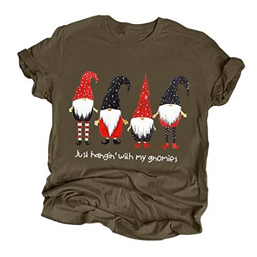 TEBAISE Weihnachten T-Shirt Damen Funny Weihnachten Gedruckt Shirts Mit Rundhalsausschnitt 2019 Fun Shirt Weihnachts Xmas Merry Christmas Kurzarmshirt Schneemannmuster Tee