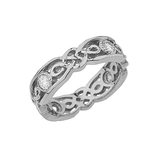 Elegant 14k White Gold Diamond Vintage Celtic Knot Wedding Band (Size 5.5)
