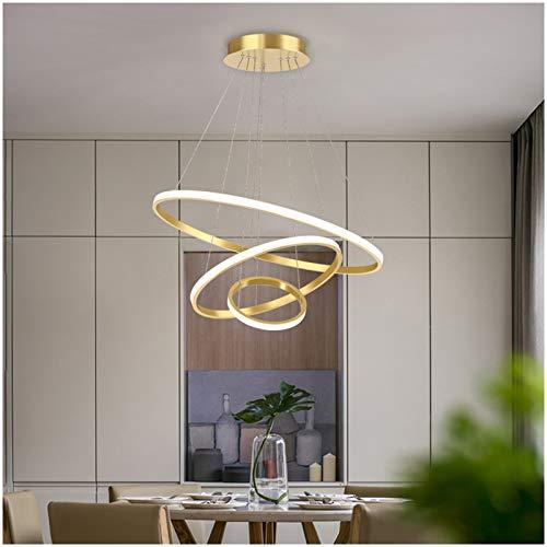 MEILINL Lamparas de Techo LED Lámpara Colgantes Creatividad Diseño Luz 120MM Altura Ajustable Plafones con Mando a Distancia para Baño Habitación Iluminación 3000K ~ 6000K (Dorado)