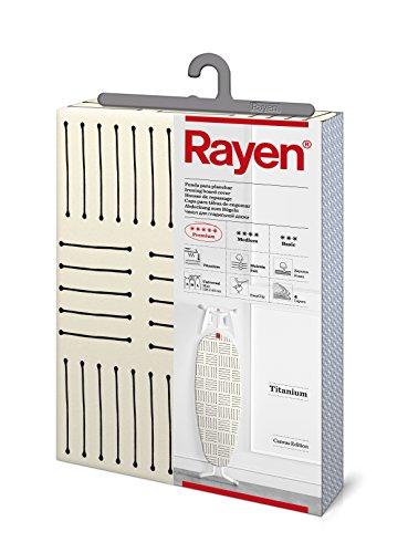 Rayen | Funda para tabla de planchar | Alcolchada y fácil de colocar con sistema EasyClip | 4 capas: Espuma, Muletón, tejido calidad Canvas | Funda con recubrimiento de titanio | Medidas: 126x40cm