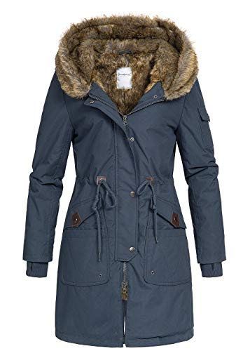 Seventyseven Lifestyle Damen Winter Mantel Jacke Kapuze Webpelz Parka 5 Taschen Navy blau, Gr:M
