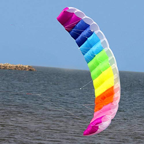 FANZIFAN Cometa,1 Uds arcoíris Doble línea Kitesurf Suave parafoil Surf Cometa Deporte...