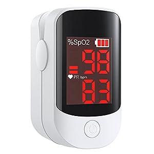 Saturimetro Da Dito, Ossimetro Pulsossimetro Professionale Portatile per Frequenza Cardiaca(PR) e Saturazione Ossigeno(SpO2) Misure, Lettura Istantanea