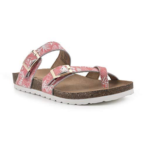 White Mountain Shoes Gracie Women s Flat Sandal  Coral/Leather  11 M