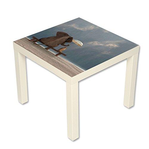 B-wie-Bilder.de bijzettafel salontafel met motief Dieren Olifant & Hond Vriendschap in de regen wit