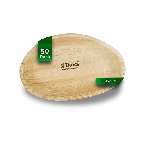 Dtocs Palm Leaf Plates Pack 50, 7X5 Inch Oval| Eco-friendly, Compostable, Natural, BPA free, Organic Disposable Party Plates For Wedding, Camping, Birthday Dinner | Better Than Bamboo, Paper Plates