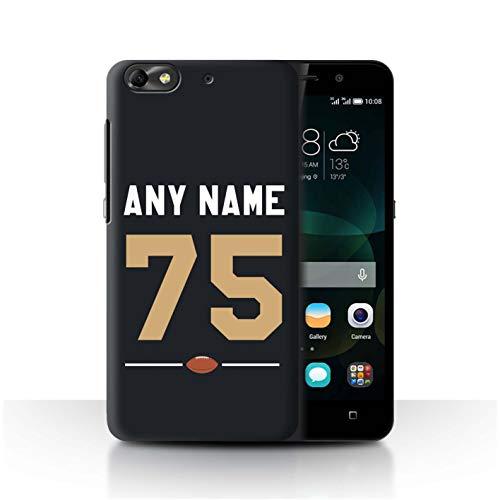 eSwish Personalisiert Individuell Amerikanischer Fußball Jersey Hülle für Huawei G Play Mini/Schwarz/Gold Design/Initiale/Name/Text Schutzhülle/Case/Etui