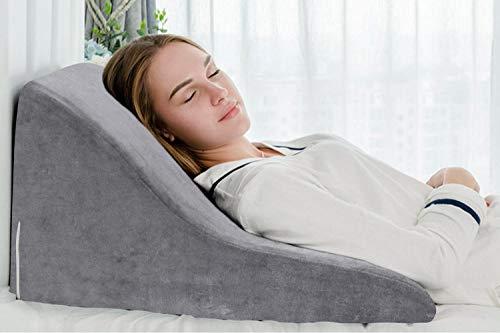 QUEEN ROSE Almohada terapéutica para la cama | Con espuma de memoria y funda lavable, diseñada por médicos para el dolor de espalda y cuello, mejor respiración y circulación y reflujo del ácido (gris)