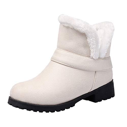 Frauen Stiefel Wintermode Reine Farbe Plüsch Warme Runde Kappe Schlüpfen Vintage Stiefeletten Booties(37 EU,Beige)