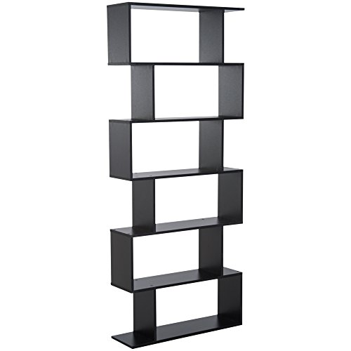 libreria nera moderna HOMCOM Libreria Legno Design Moderno con 6 Ripiani 80 × 23 × 192cm Nero