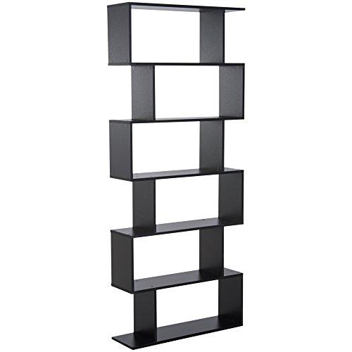 homcom Libreria Legno Design Moderno con 6 Ripiani 80 × 23 × 192cm Nero