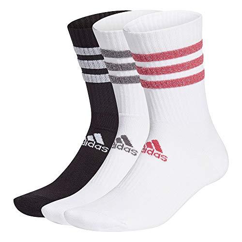 adidas GH7542 3S GLAM CRW WMS Socks unisex-adult white/black/wild pink/grey five XS