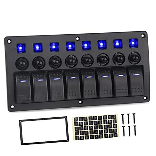 ER827QI Haoshan Compatible con el Panel del Interruptor Jeep 8 Sets de 12V 20A 24V 10A Interruptor Impermeable 5pin Marine 12V Rocker LED Interruptor de Panel con disyuntor (Color : Blue)