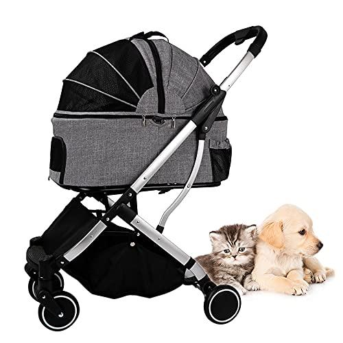 Sunydog Cochecito para Mascotas para Gatos, Perros, Jaula Desmontable, Cochecito para Mascotas, Perros, transportador Plegable, Carrito de Cuatro Ruedas para Mascotas Dentro de 20 kg