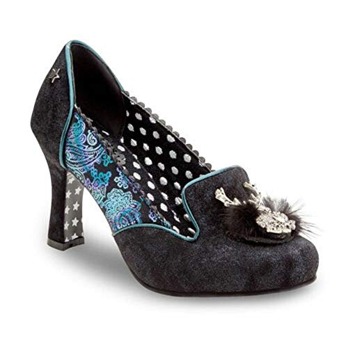 Women Ladies Joe Browns Couture Suede Leather Blue Violet Silk Brocade Metal Brooch Fur Trims Occasion Party Polka Dot Lining Court Shoe Boots, 5 UK, Black