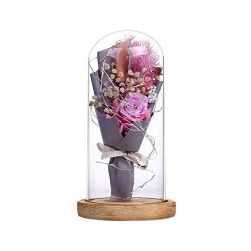 La bella e la bestia si alzarono Rosa di seta polvere rossa in cupola di vetro, regali romantici per la decorazione della casa, regali di anniversario per San Valentino, festa della mamma e compleanno