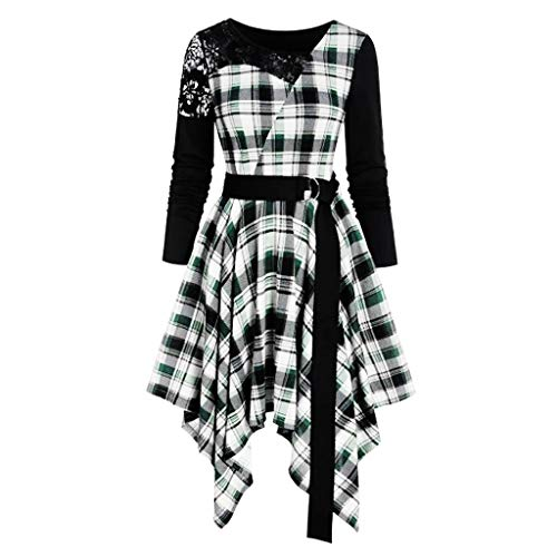 Shirt-Kleid Damen Gothic Plaid T-Shirt V-Ausschnitt Kleider Lace Up Tunika Asymmetrische Kleidung Bluse Tops Kleid Piebo Frauen Mode A-Line Langarmshirt Long Oberteil Minikleid Mittelalter-Kostüm